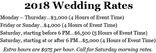 2018 Wedding Rates Chart