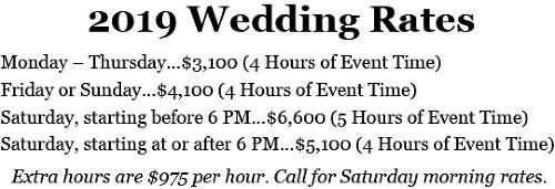 2019 Wedding Rates Chart