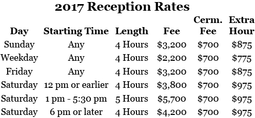 2017 Chase Court Wedding Rates