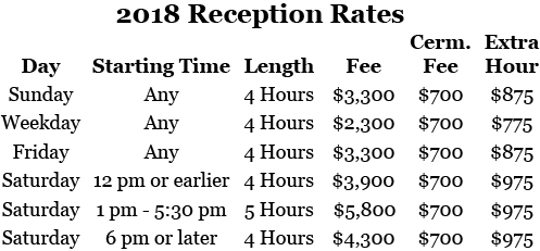 2018 Chase Court Wedding Rates