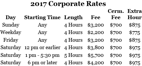 2017 Chase Court Corporate Rates