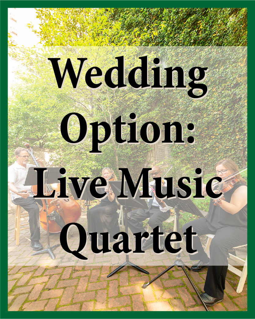 Violin, voice, viola, cello, bass, flute, or guitar for your ceremony and cocktail hour (choose four).