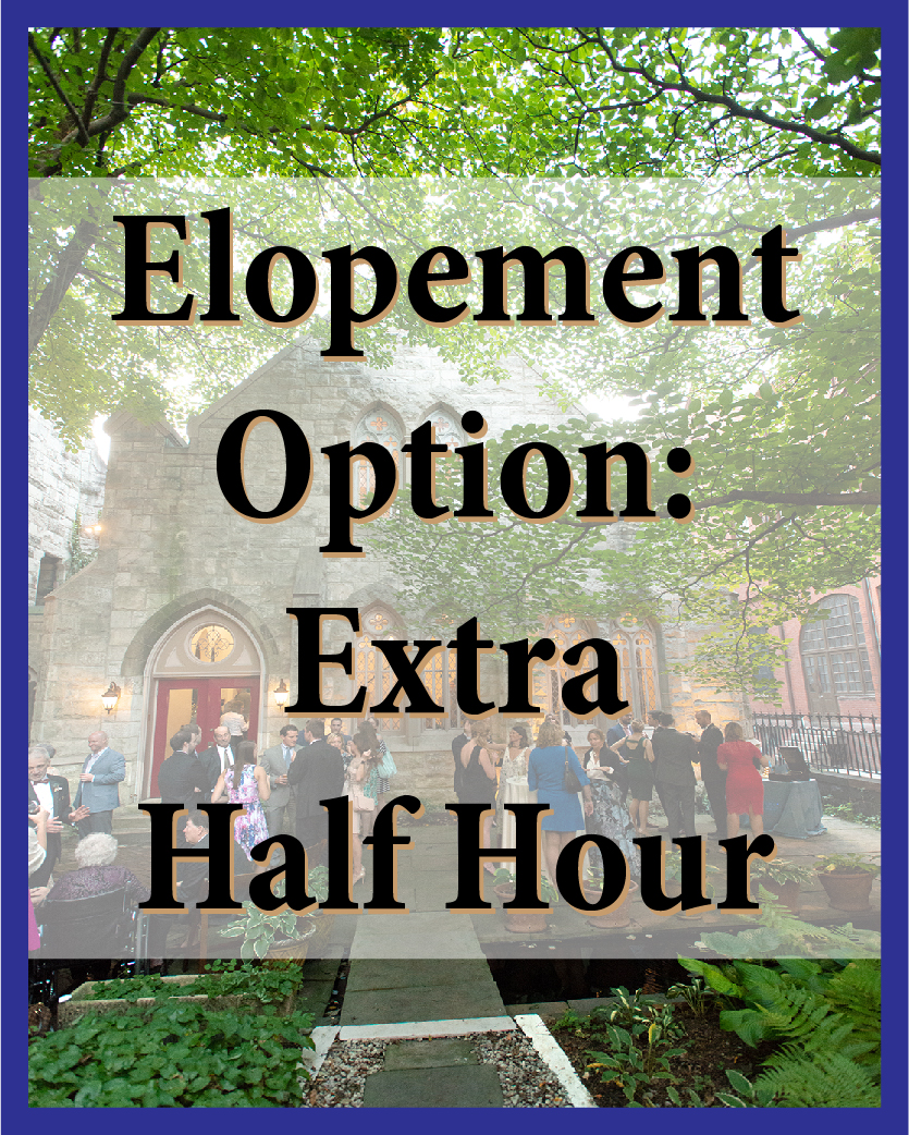 Add an extra half hour to any of the elopement packages.